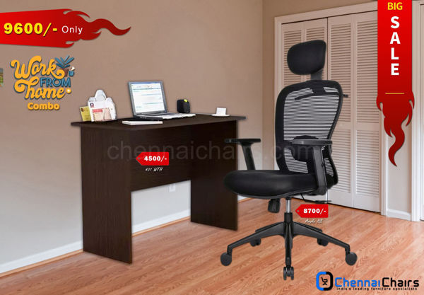 Combo of - HOFFICE WFH Laptop Desk 401 with Ample Highback Mesh Office Chair
