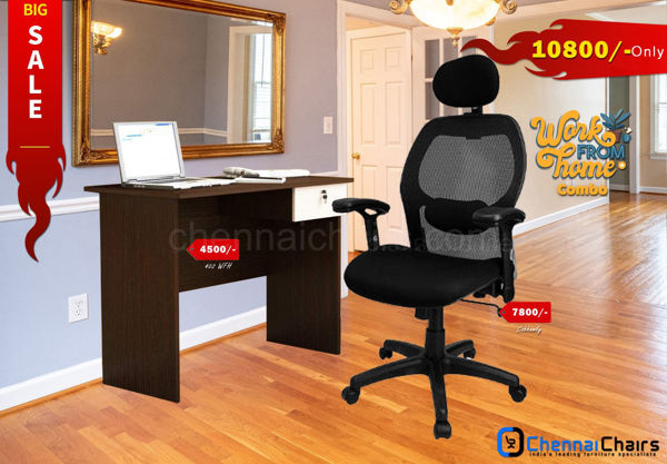 Combo of - HOFFICE WFH Laptop Desk 402 with Cobhamly Luxury Mesh Office Chair