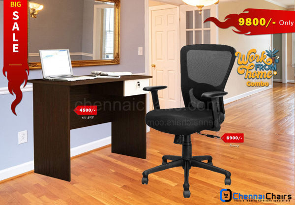 Combo of - HOFFICE WFH Laptop Desk 402 with Primary Executive Chair