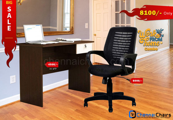 Combo of - HOFFICE WFH Laptop Desk 402 with Hove Mesh office Chair