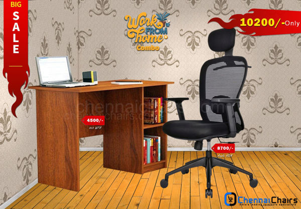 Combo of - HOFFICE WFH Laptop Desk 403 with Ample Highback Mesh Office Chair