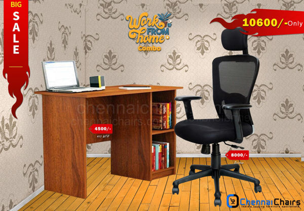 Combo of - HOFFICE WFH Laptop Desk 403 with Brixham High Back Mesh Office Chair
