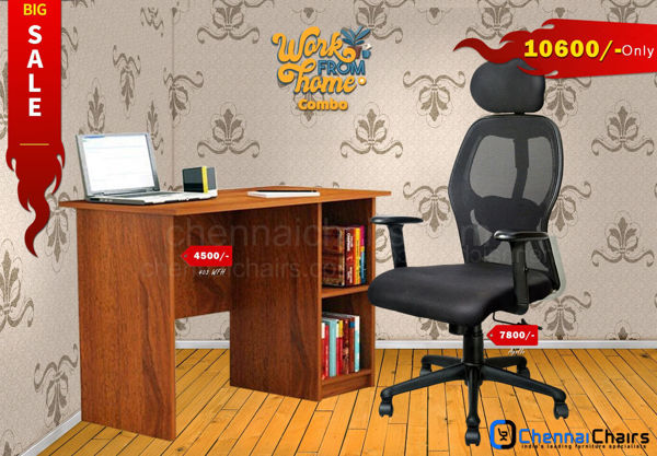 Combo of - HOFFICE WFH Laptop Desk 403 with Apollo Executive Mesh Office Chair