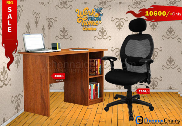 Combo of - HOFFICE WFH Laptop Desk 403 with Cobhamly Luxury Mesh Office Chair